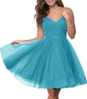 Jonlyc Spaghetti Straps V Neck Glitter Tulle Homecoming Dresses Backless