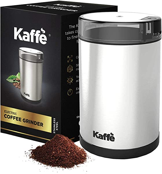 KF2020 Electric Coffee Grinder By Kaffe Stainless Steel 2 5oz Capacity With Easy On Off Button