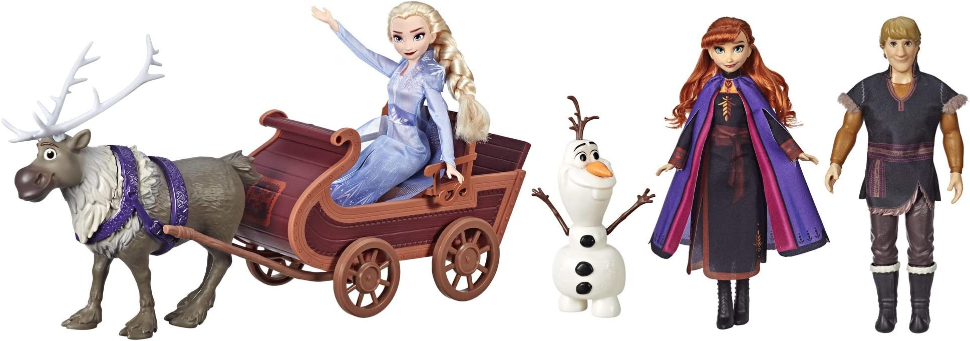 Disney Frozen Sledding Adventures Doll Pack, Includes Elsa, Anna, Kristoff, Olaf, & Sven Fashion Dolls with Sled Toy Inspired by The 2 Movie