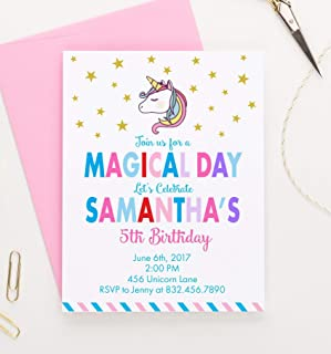 Personalized Unicorn Birthday Invitation Invitations Invites For Girls Your Choice Of