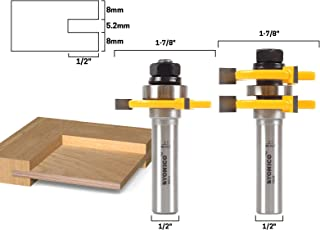 Yonico 15231 1/4-Inch Plywood 2 Bit Plywood Tongue and Groove Router Bit Set 1/2-Inch Shank