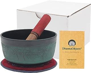 DharmaObjects Meditation Grade 6 Inches Tibetan Om Mani Singing Bowl Mallet/Cushion Set