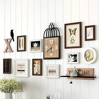 إطار صورة رف، ملصق لجدار الصور الشمال لتزيين الجدران من الخشب الصلب، أبيض وأزرق فاتح (26.4 * 63.0 بوصة) (اللون: أبيض + أسو...