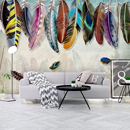 YTJBEI Photo Wallpaper Wall Mural -Colored Feathers Non Woven Wall Mural Adults and Children Teen´s Room Office for Bedrooms 3D Mural Wall Decoration 300 X 210 cm