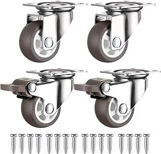 4 Kleine Zwenkwielen 25mm + Schroeven TPR Rubber, Zwaarlastwielen 44KG, Zwenkwielen Voor Meubels, Zwenkwieltjes voor een T...