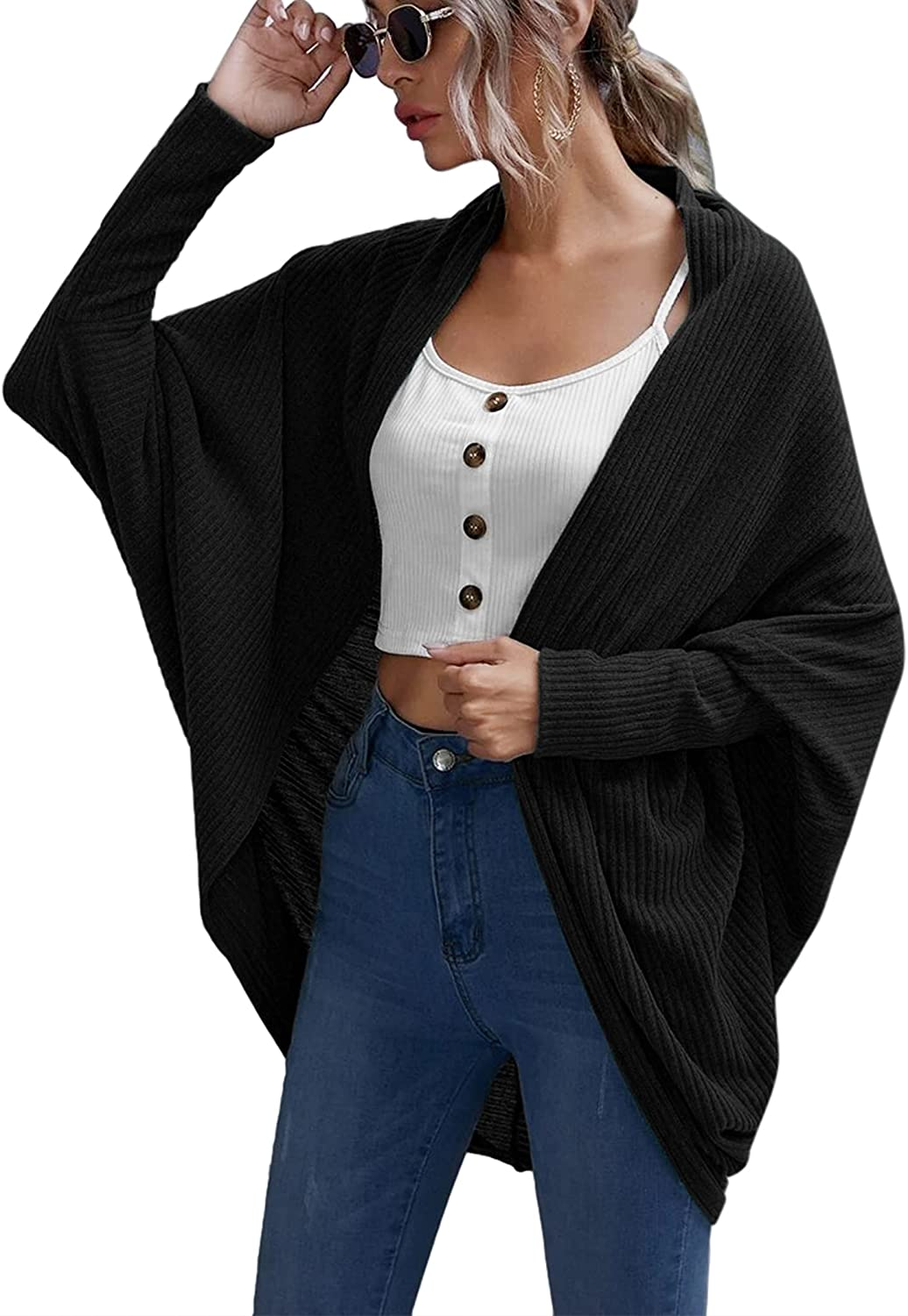 Chigant Womens Cardigan Long Batwing Sleeve Sweater Open Front Knit Lightweight Casual Outwear