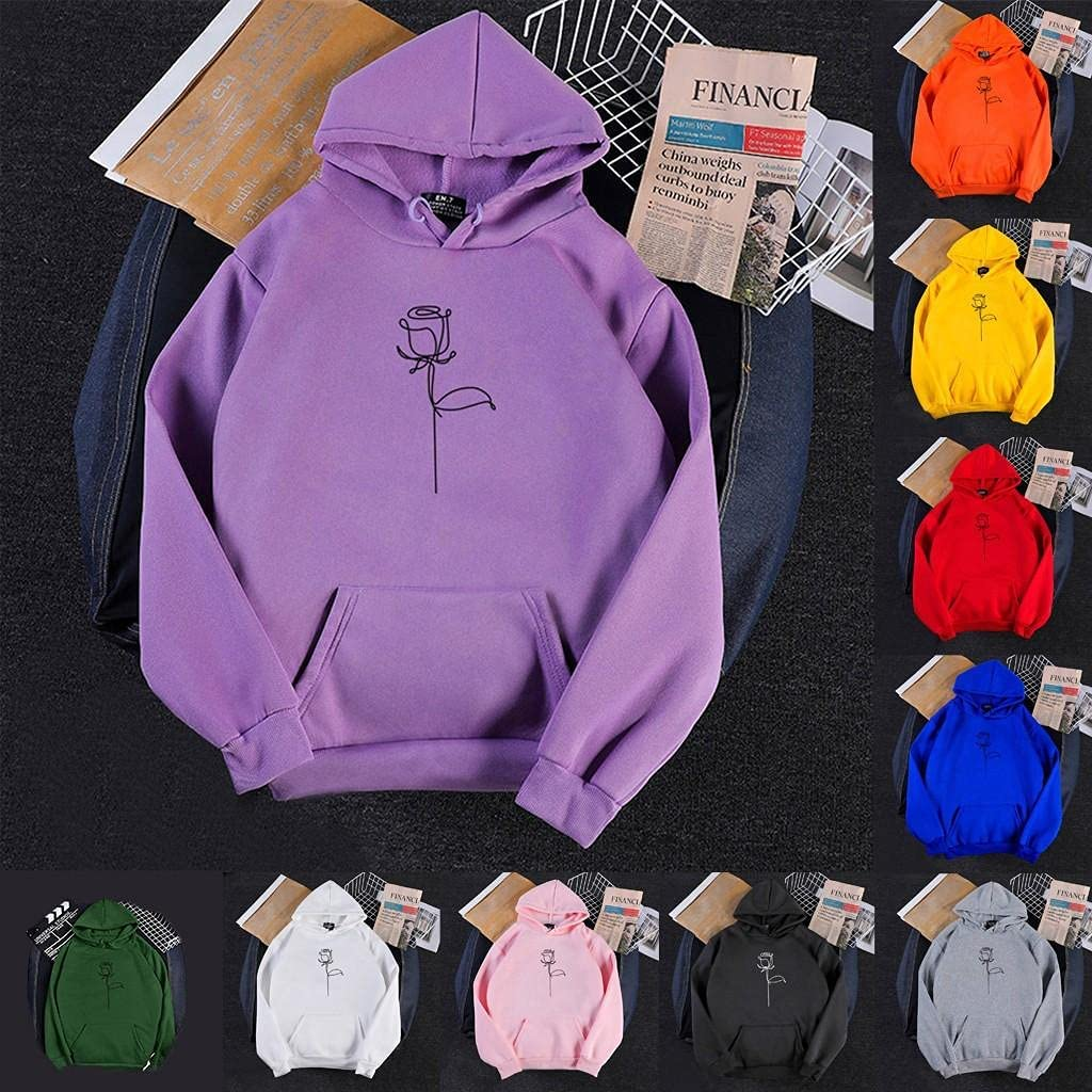 Toeava Hoodies for Women, Womens Fashion Floral Print Long Sleeve Pullover Sweatshirt Casual Drawstring Tops with Pocket