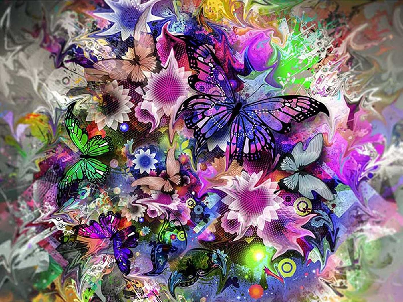 21secret 5D Diamond Diy Painting Full Drill Handmade Colorful Butterflies in Love with Flowers Cross Stitch Home Decor Embroidery Kit