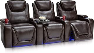 Seatcraft Equinox Home Theater Seating Power Recline Leather (Row of 3, Brown)