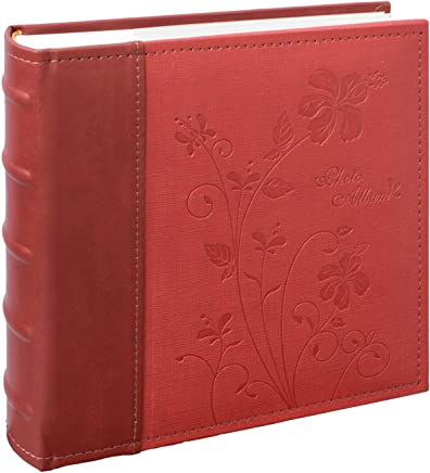 Photo Album Floral Faux Leather 200 Pockets Mini Capacity Holds 4x6 Picture Book Used for Family Wedding Anniversary Vacation Christmas Baby Dog Golden State Art Maroon