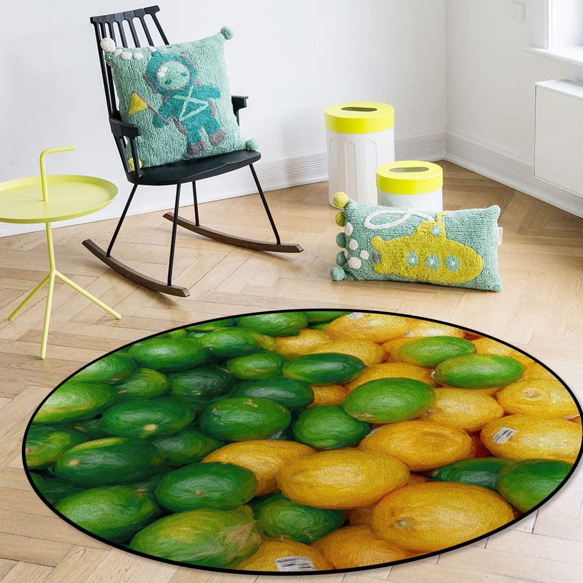 Savannan Round Area Free shipping anywhere in the nation Rug Summer Lime Gr Weekly update Painting Oil Fruit Lemon