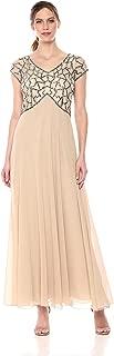 J Kara Womens Short Sleeve Geo Long Beaded Gown Short-Sleeve Special Occasion Dress