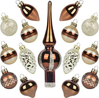 KINGYEE Miniature Ornaments and Tree Topper Christmas Mini Glass Tree Decorations Set of 15 for Tabletop Desktop Tree Wedding Centerpiece (Bronze Champagne)