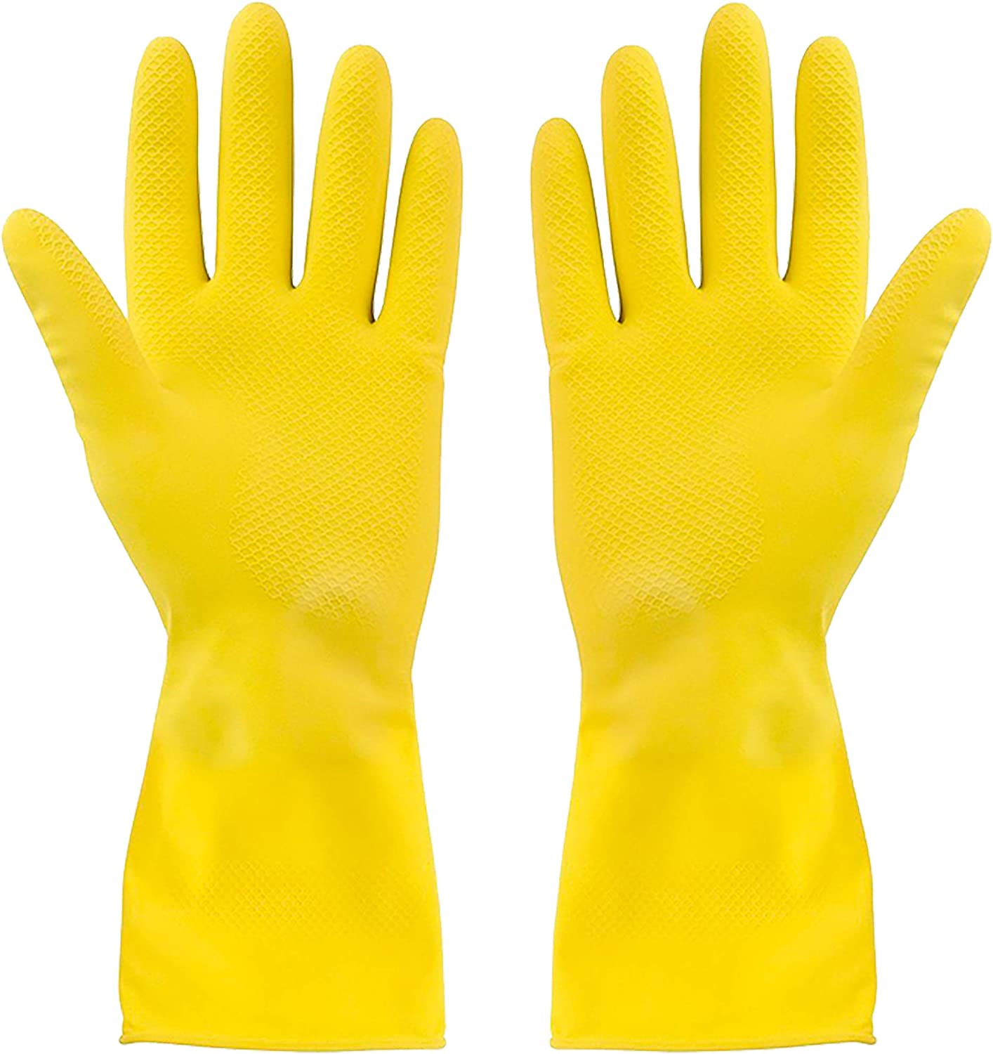 SteadMax 3 Pack Yellow Cleaning Gloves, Professional Natural Rubber Latex Gloves, Large Size (3 Pairs) : Health & Household