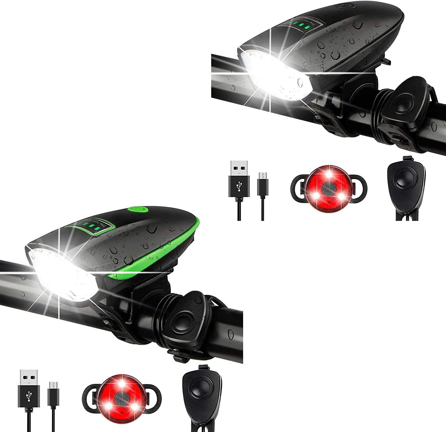 Bike Easy-to-use Lights Set with Limited time trial price Horn Bicycle Headli USB Rechargeable 1400LM