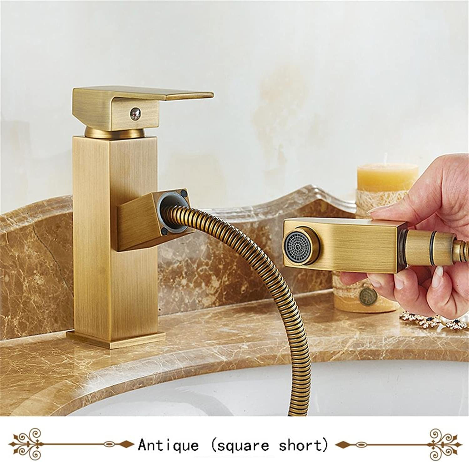 TOYM UK Full Copper European Style Shower Faucet Basin Hot And Cold Water Faucet ( color   Antique (square short) )