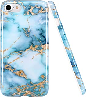 luolnh iPhone 6 6S Case, Blue and Gold Marble Design Slim Shockproof Flexible Soft Silicone Rubber TPU Bumper Cover Skin Case for iPhone 6 4.7 inch