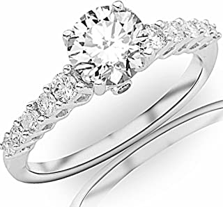 1.95 Carat 14K White Gold Classic Prong Set Side Stone Diamond Engagement Ring with a 1.5 Carat Moissanite Center