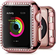 QIENGO Compatible for Apple Watch Case 38mm 40mm 42mm 44mm, TPU Bumper Bling Crystal Diamonds Shiny Rhinestone Screen Protector Cover Protective Frame Compatible for iWatch Series 5/4/3/2/1 Women Girl