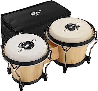 "Eastar EBO-1 Bongo Drums 2 مجموعه 6 ""و 7"" سازه ضربه ای چوبی بونگوس برای کودکان بزرگسالان مبتدیان سرهای طبیعی پوست با آچار و کیف تنظیم"