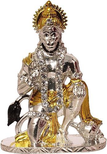 Art N Hub Brass 24K Gold Plated & Silver Plated With Stones Hindu God Hanuman Car Dashboard Idol Lord Mahavir Statue