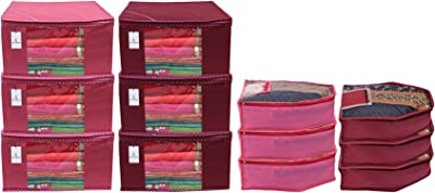 Kuber Industries Non Woven 6 Pieces Saree Cover/Cloth Wardrobe Organizer and 6 Pieces Blouse Cover Combo Set (Pink & Maroon) - CTKTC045396