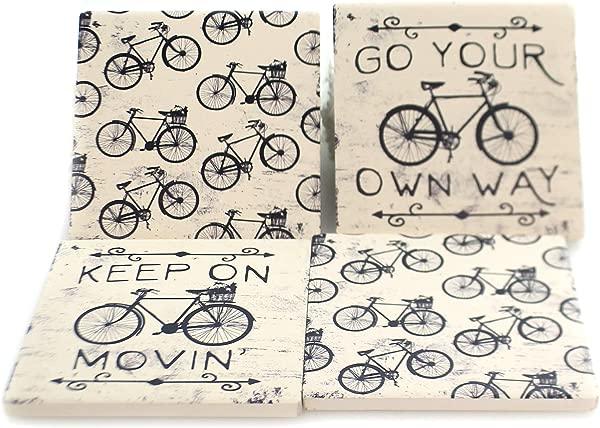卡尔森黑色和白色自行车方形屋组粗陶杯垫厨房配件