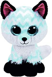 Claire's Girls TY Beanie Boo Small Piper the Chevron Fox Plush Toy in White/Black 6