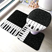 Jxrodekz Black White Piano Keys Bathroom Rugs and Mats Sets 3 Piece (Bath Mat U-Shaped Contour Shower Mat Non Slip Absorbent Toilet Lid Cover Washable) 40x60cm