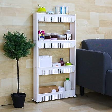 Sampri Plastic Kitchen Rack 4-Layer Storage with Wheels for Kitchen, Bathroom and Bedroom