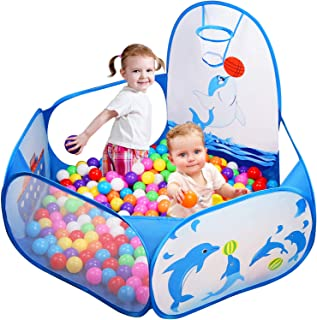 Likorlove Kid Ball Pit with Basketball Hoop 4ft/120cm, 1-6 Years Child Toddler Ball Ocean Pool Tent with Zippered Storage Bag for Boys Girls (No Smell) Healthy Pop Up Dolphin Play Tent - Blue
