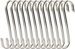 RuiLing 12-Pack Size Medium Flat S Hooks Heavy-Duty Genuine Solid 304 Stainless Steel S Shaped Hanging Hooks,Kitchen Spoon Pan Pot Hanging Hooks Hangers Multiple uses.