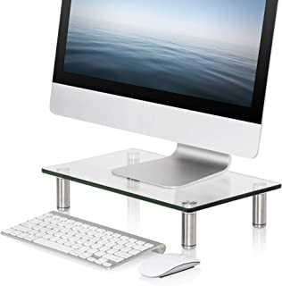 FITUEYES Clear Computer Monitor Riser Save Space Desktop Stand for Xbox One Component Flat Screen TV FDT103801GC