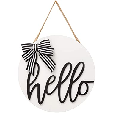 Dahey Hello Sign Rustic Front Door Decor Round Wood Hanging Sign Farmhouse Porch Decorations for Home, White