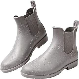 Yvmurain Women`s Short Rain Boots Waterproof Anti Slip Rubber Ankle Chelsea Booties