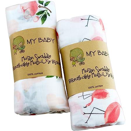 おくるみ ブランケット ガーゼ ベビー 2枚セット モスリン コットン かーぜタオル 綿100% スワドル 赤ちゃん タオル 授乳ケープ プレイマット 保温 吸水 速乾 新生児 ダブルガーゼ 120×120㎝ 出産祝い フラミンゴ バラ 女の子 ピンク Ciilee Baby