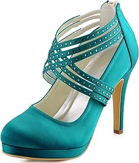ElegantPark Women High Heel Pumps Closed Toe Platform Strappy Satin Evening Prom Dress Wedding Shoes