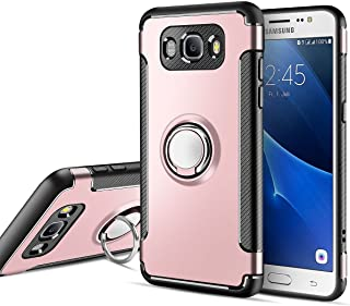 MaiJin Funda para Samsung Galaxy J3 / J3 2016 (5 Pulgadas) Multifunción Anillo sostenedor movil de 360 Grados con función de Soporte Rugged Armor Cover Case (Oro Rosa)