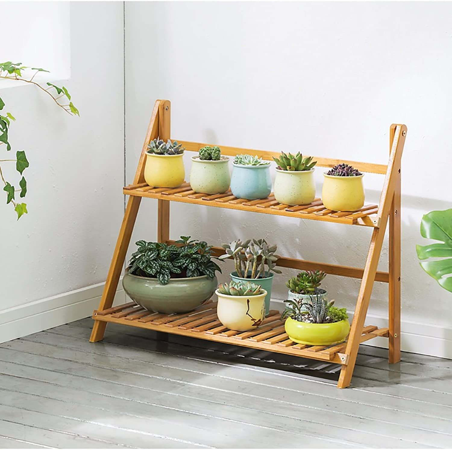 Standing Flower Stand Flower Stand Solid Wood Multi-Layer Landing Flower Stand Balcony Living Room Flower Pot Rack Shelf Decorative Frame (Size   B)