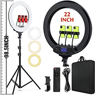 """22"""" LED Ring Light, with 75"""" Tripod/LCD Display/Wireless Remote, Adjustable 2500K-8500K Color Temperature, for YouTube Fac..."""