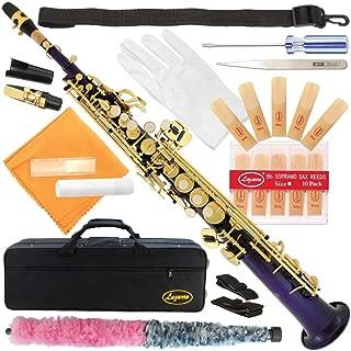 300-PR-PURPLE/GOLD Keys Bb STRAIGHT SOPRANO Saxophone Sax Lazarro+11 Reeds,Care Kit~22 COLORS~SILVER or GOLD KEYS~CHOOSE YOURS !