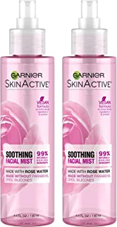 Garnier SkinActive Facial Mist Spray with Rose Water, 4.4 Fl Oz (Pack of 2) (Packaging May Vary)