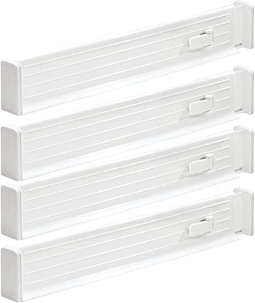 """mDesign Adjustable, Expandable Drawer Organizer/Divider - Foam Ends, Strong Secure Hold, Locks in Place - for Bedroom, Bathroom, Closet, Office, Kitchen Storage - 2.5"""" High, 4 Pack - White"""