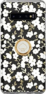 Kate Spade New York Gift Set Bundle | for Samsung Galaxy S10 Plus | Protective Phone Case (Clear Blockprint Floral White/Gold) and Stability Ring Stand (Spade White/Gold Enamel)