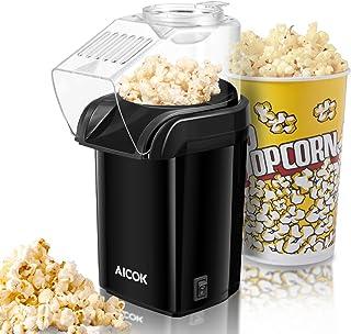 popcornmaschine AICOK Popcornmaschine, Popcorn Maker Machine für Zuhause, Heissluft Popcornmaker Ohne Fett Fettfrei Ölfrei, Messlöffel, 1200W Popcorn Popper, Schwarz