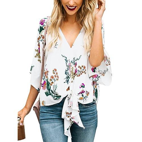 0947037109e8b6 Gemijack Womens Floral Blouses Chiffon Summer Short Sleeve Deep V Neck Tie  Front Tops Shirts