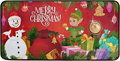 Qilmy Christmas Elf and Snowman Rug Non-Slip Large Rugs Soft Comfort Area Rug Christmas Decorative Floor Mat Carpets for Living Room Bathroom Dining Room Bedroom Dormitory-39X20 Inch