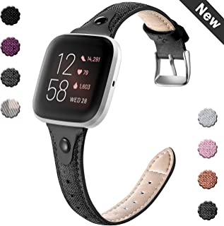 GEAK Slim Woven Bands Compatible with Fitbit Versa/Versa 2 Bands for Women Men,Durable Canvas Fabric & Soft Genuine Leather Lining Bands for Fitbit Versa 2 Smartwatch,Small Large