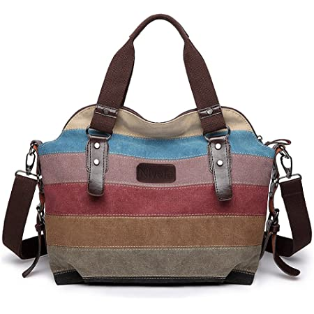 Nlyefa Damen Multi-Color-Striped Handtasche Canvas Große Desigual Umhängetasche Damentasche Canvas Henkeltasche, EINWEG