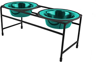 Platinum Pets Double Diner Feeder with Stainless Steel Cat Bowls, 6 oz, Teal